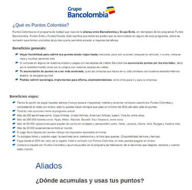 Bancolombia Puntos Colombia- Page 1