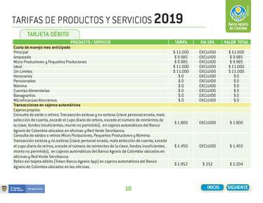Tarifario 2019 Banco Agrario- Page 1