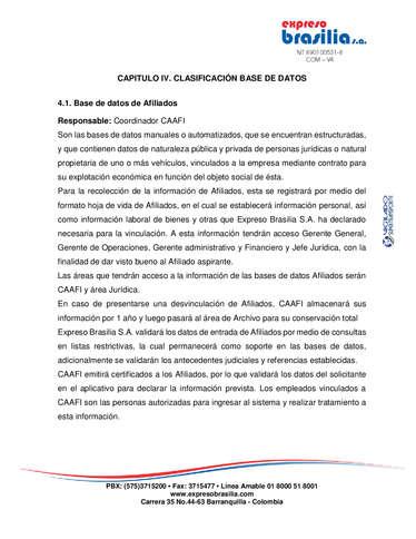 Expreso Brasilia Manual tratamiento de Datos- Page 1