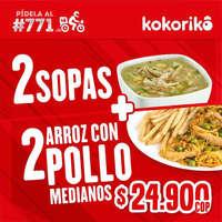 2 Sopas + 2 arroz con pollo